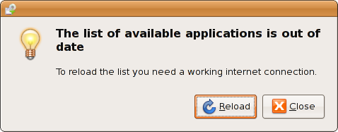 List of Avaialble Applications is Out Of Date