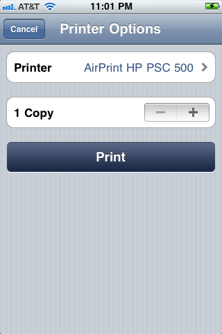 AirPrint from iPhone to HP PSC 500