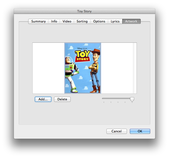 Select movie artwork in iTunes 11