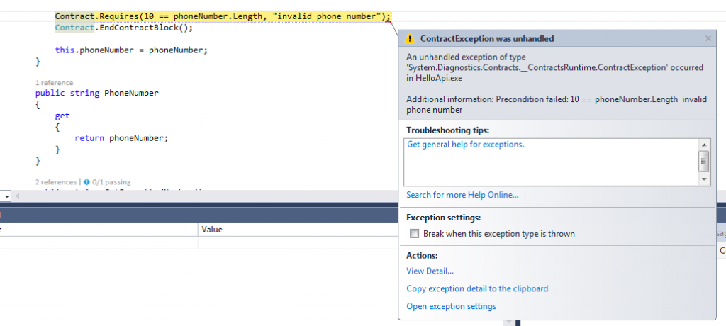 Code Contract Exception